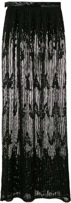 À La Garçonne Lace Pleated Maxi Skirt