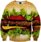 Pizoff Unisex Hipster Long Sleeve Crew Neck Colorful Hamburger 3D Graphic Print Black Sport Pullover Sweatshirts -S
