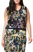 Rachel Roy Plus Size Women's V-Neck Jacquard Knit Top