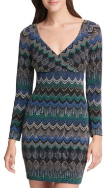 GUESS Metallic Geo-Print Mini Dress