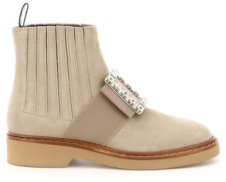 Roger Vivier chelsea viv rangers rhinestone buckle ankle boots