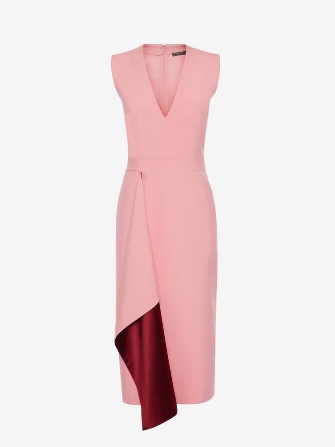 Alexander McQueen V-Neck Drape Midi Pencil Dress