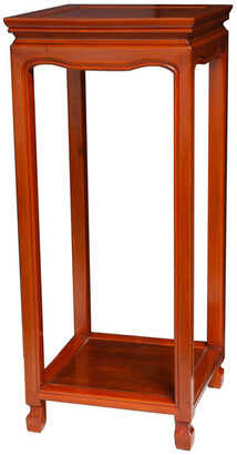 """Oriental Furniture 28"""" Rosewood Oriental Square Stand, Honey"""
