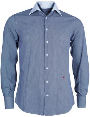 Carolina Herrera Men's Blue and White Striped Shirt S