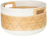 Kouboo Round Coiled Rattan Storage Basket, Natural and White