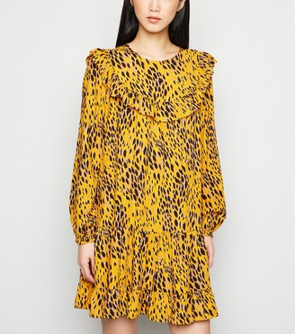 New Look Animal Print Tiered Hem Smock Dress