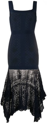 Alexander McQueen Crochet-Hem Midi Dress