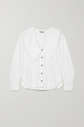 Ganni + Net Sustain Ruffled Organic Cotton-poplin Shirt - White