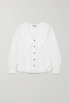 Ganni Net Sustain Ruffled Organic Cotton-poplin Shirt