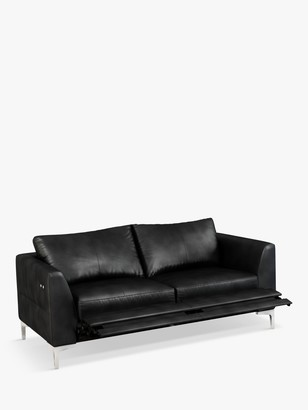 John Lewis & Partners Belgrave Motion Medium 2 Seater Leather Sofa with Footrest Mechanism, Metal Leg