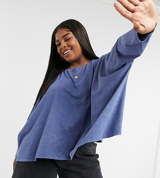ASOS DESIGN Curve slouchy top with batwing sleeve in washed blue
