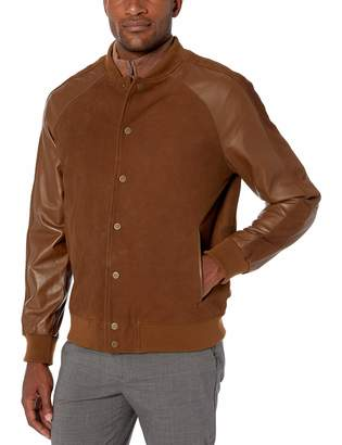 Bruno Magli Men's Silky Suede Varsity Jacket with Contrast Sleeves
