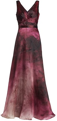Marchesa Notte Ruched Sleeveless Satin Ball Gown