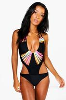 Boohoo Lola Rainbow Multi Bar Swimsuit