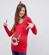 Mama Licious Mama.licious Mamalicious Reindeer Holidays Top