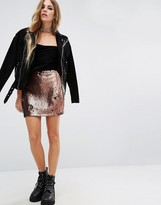 Motel Cherry Sequin Tube Skirt