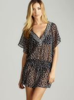 Club Z Tie Neck Chiffon Printed Cover-Up