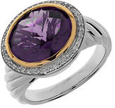 Lord & Taylor Amethyst, Diamond, Sterling Silver and 14K Yellow Gold Ring
