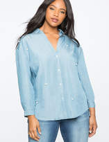 ELOQUII Pearl Embellished Chambray Top
