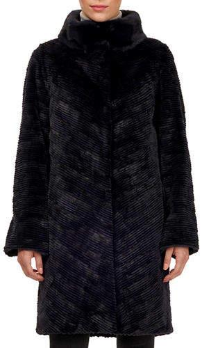 Gorski Lamb Shearling Coat w/ Mink-Fur Collar