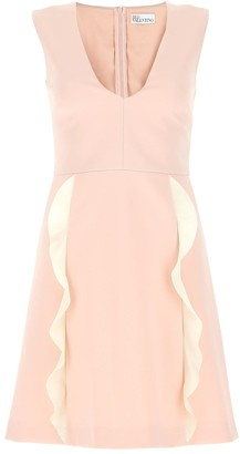 RED Valentino Ruffle Detail V-Neck Dress