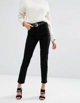 Asos FARLEIGH High Waist Slim Mom Jeans In Clean Black