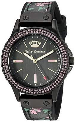 Juicy Couture Black Label Women's Swarovski Crystal Accented Black and Floral Leather Strap Watch