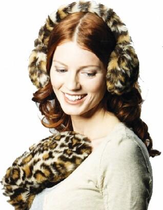Socks Uwear Ladies Faux Fur Sandy Leopard Print Earmuff & Glove Warm Winter Set - Cream - One Size