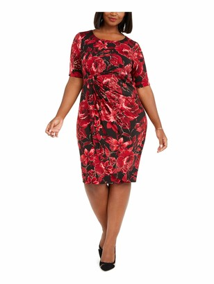 Connected Apparel Womens Red Floral Short Sleeve Jewel Neck Below The Knee Dress UK Size:8