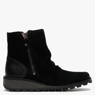 Fly London Monty Black Suede & Leather Side Zip Wedge Boots