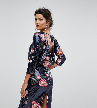 TFNC Sequin Midi Dress With Floral Embroidery And Cowl Back-Navy