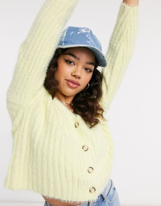 New Look button down fluffy cardi in lemon