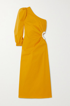 Johanna Ortiz Refulgence Of Stars One-shoulder Cutout Cotton-blend Poplin Dress - Yellow