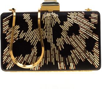 Lanvin Black/Gold Embellished Satin Chain Clutch