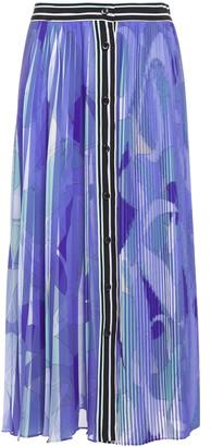 Emilio Pucci Pleated Printed Crepe De Chine Midi Skirt