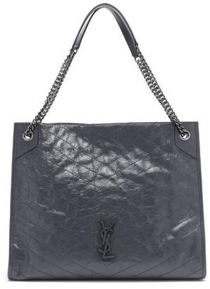 Saint Laurent Niki Large Quilted Leather Tote Bag - Womens - Dark Grey
