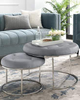 Nicole Miller Quilted Faux Leather Nesting Ottomans, Set of 2