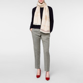 Paul Smith Women's Taupe Spot And Stripe Wool Scarf