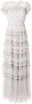 Needle & Thread Short Sleeve Ruffled Trim Gown