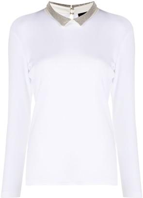Fabiana Filippi contrast collar long-sleeved Tee