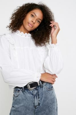 Urban Outfitters Broderie Babydoll Blouse - white XS at