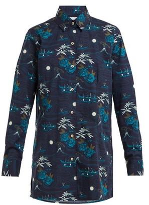 Thorsun Georgie Polynesian-print Cotton Shirt - Navy Multi