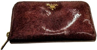 Prada Burgundy Patent leather Wallets