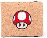 Bioworld Nintendo Super Mario Bros. Red Mushroom Bi-Fold Cork Wallet, (Mw120205Ntn) Credit Card Case, 17 cm, Brown