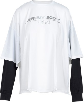 Jeremy Scott White Cotton Women's T-Shirt w/LS Sleeve