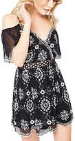 Miss Selfridge Petite Mono Bardot Dress, Black