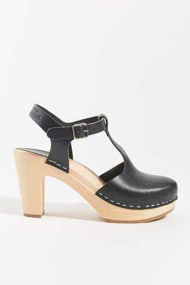 Swedish Hasbeens T-Strap Sky High Clog Sandals