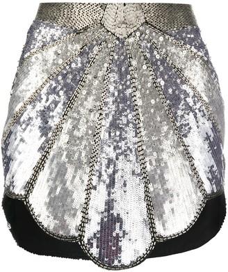 ATTICO Bead Embroidered Metallic Skirt