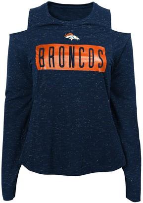Outerstuff Junior's Navy Denver Broncos Kicker Cold Shoulder Long Sleeve T-Shirt