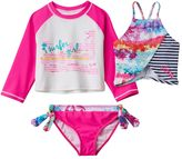 "Big Chill Girls 4-16 Surfer Girl"" Rashguard, Tankini & Scoop Bottoms Swimsuit Set"